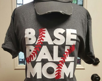 Baseball Mom t-shirt with threads  Large front baseball design with baseball threads