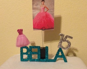 Quinceanera Personalized Centerpiece, Photo Holder, and Keepsake, up to 5 Letter Listing