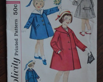 1960s Vintage Simplicity Pattern 3334 Children's Coat