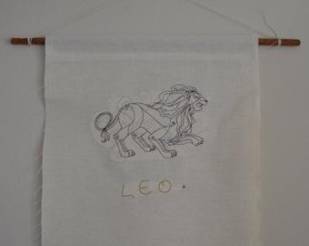Leo Zodiac Linen Wall Hanging