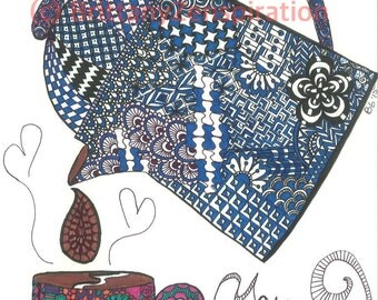 Coffee/Tea Zendoodle Print (Ink Drawing) Zentangle Inspired Printable Art