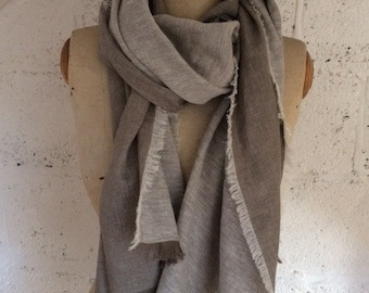 LIMITED EDITION - Grey 100% Italian Linen Reversible Scarf