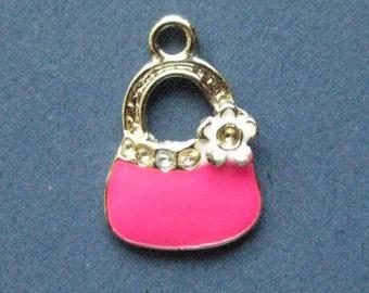 5 Pink Handbag Charms - Pink Handbag Pendant -  Purse Charm - Purse Pendant - Enamel - 20mm x 13mm -- (F7-10324)