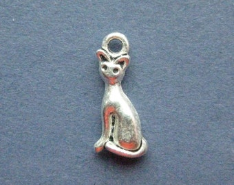 6 Cat Charms -Cat Pendants - Kitten Charm - Silver Tone - 8mm x 17mm -- (T6-11089)