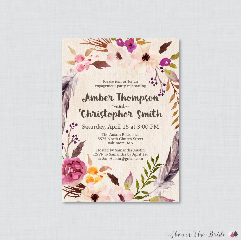 Boho engagement party invitation printable or printed floral for Invitation for engagement party