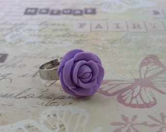 Polymer clay LILAC ROSE RING