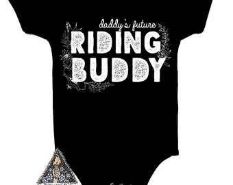 Daddy's Future RIDING BUDDY Motorcycle Edgy Pregnancy Announcement bodysuit / Riding Buddy Pregnancy announcement
