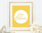 Quote Prints, Quote Postcard, Rise & Shine, Printable, Wall Print, Nursery Decor, Motivational Print, Art Postcard, Office Print, Typography