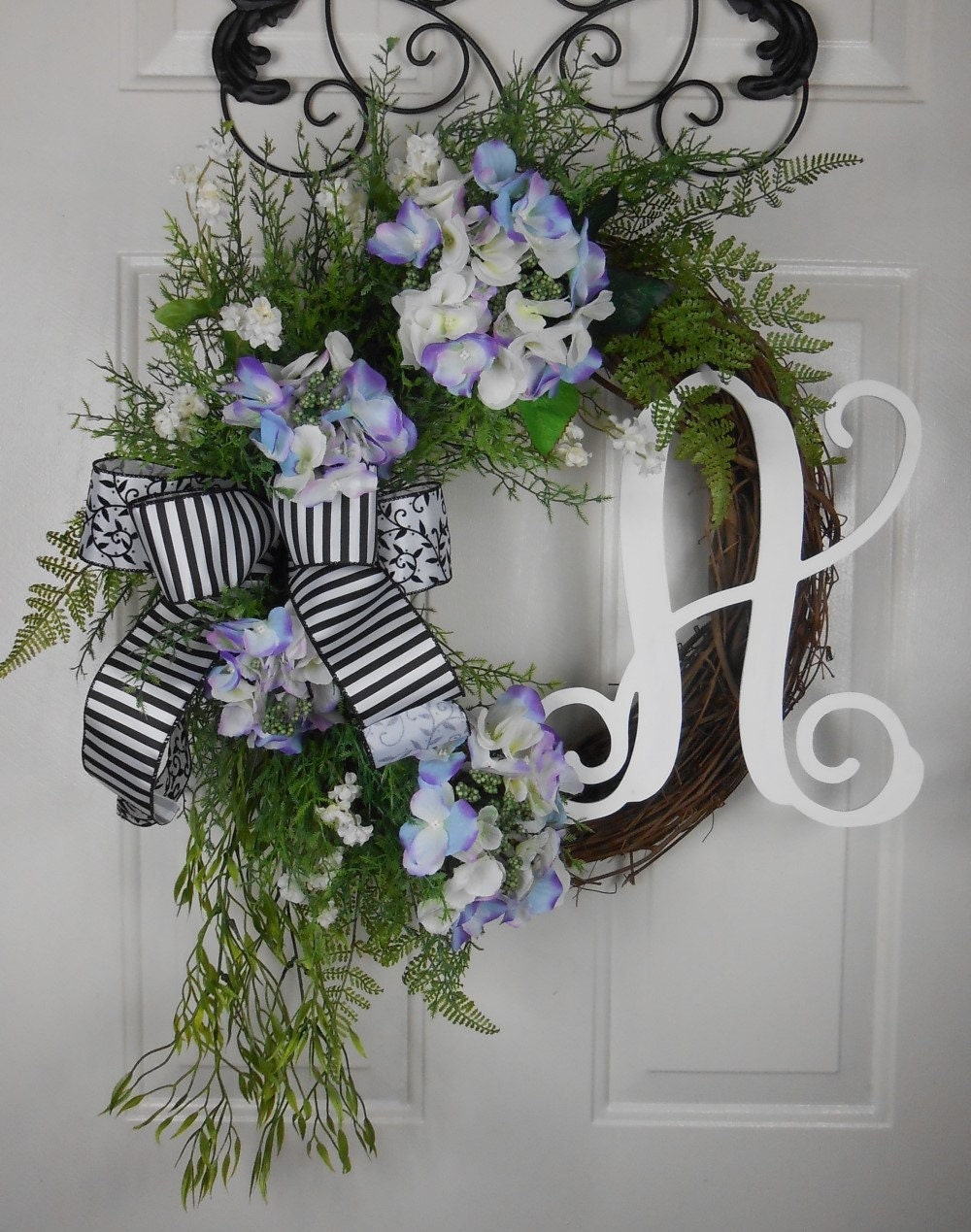 Monogram Grapevine Wreath Double Door Wreath Mothers Day