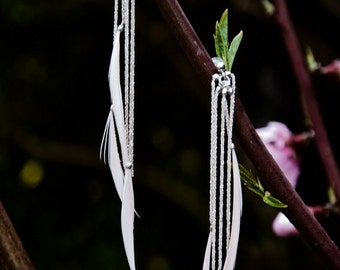 Earring feathers & silver
