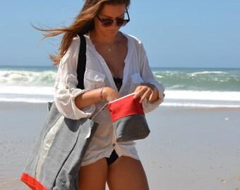 Beach Bag.Big Tote LACANAU BEACH.Large Canvas bag. Grand sac de plage .Boho beach bag.Silver linen.French beach bag.Resortstyle XL beach Bag