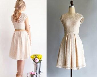 GOSSAMER | Champagne -  vintage ivory lace bridesmaid dress. short sleeve lace wedding dress. vintage inspired cocktail dress