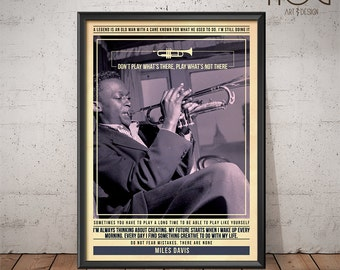 Miles Davis Poster - Quote Retro Music Poster - Music Print, Wall Art