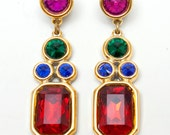 1980s - Glitzy Holiday or Anyday Clip Earrings - Faux Gem Stones - Red, Green, Pink, Blue - Cha Cha Looks