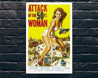 Attack Of The 50 Ft. Woman Movie Poster Print, Sticker and Canvas Print