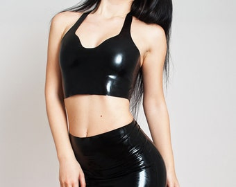 Latex Crop Top, Made to measure Rubber, Shiny, Short Top, No Zipper, Mini Halterneck,  Stretchy.