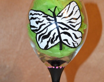 Zebra Butterfly hand painted wine glass