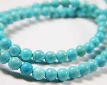 15 Inch Strand - 4mm Turquoise Beads - Howlite Beads - Synthetic Turquoise - Gemstone Beads - Jewelry Supplies