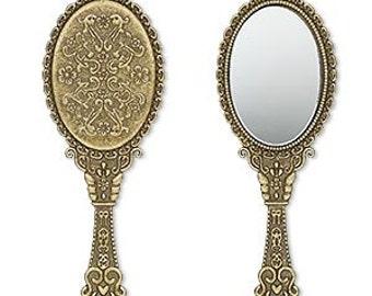 Hand Mirror Pendant, Antiqued Brass Mirror Drop, Mirror Charm, Steampunk, Victorian, 70x26mm, 1 each, D734
