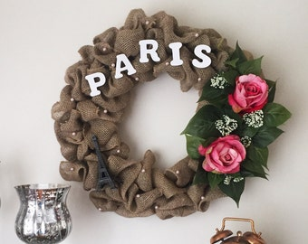 Burlap PARIS wreath-Pink roses-House warming gift-Summer wreath.