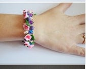 Pink Charm Bracelet handmade Jewelry polymer clay flower bracelet  gift idea for her christmas gift