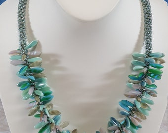 Kumihimo Beaded Necklace, Shades of Turquoise
