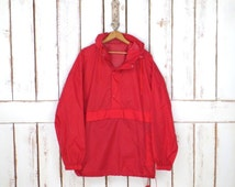 90s red sporty wind breaker nylon pullover hoodie jacket/athletic light weight track suit jacket/active wear/jogging jacket/large