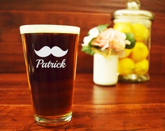 Personalized Pint Glass, Engraved Mustache Beer Mug, Etched, Hipster Beer Mug, Custom Pint Glass, Personalized Beer Mug, Beard Beer Mug