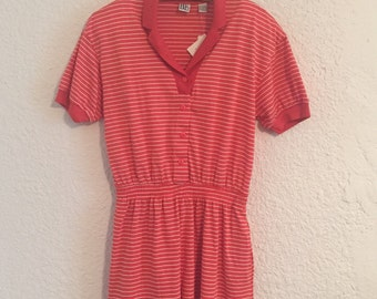 Vintage Salmon Striped Romper