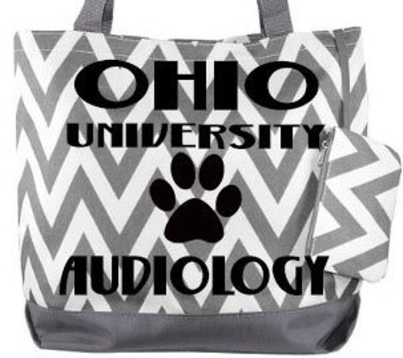 OHIO University Audiology paw print Chevron Bag
