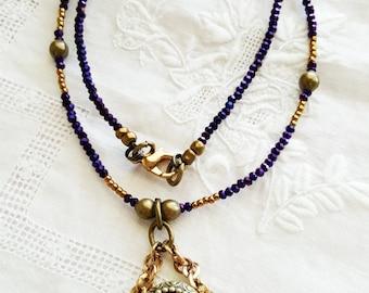 Purple & Brass Drop Necklace