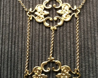 Gold Tone Found Metal Pendant Piece Tiered Necklace