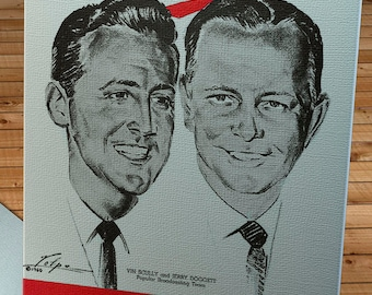 1960 Vintage Los Angeles Dodgers - Vin Scully  and Jerry Doggett  Program  - Canvas Gallery Wrap -  12 x 16 #BB177