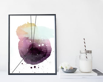 Abstract watercolor wall art, art print, watercolor poster, home wall decor, minimal, simple, watercolor painting, modern poster
