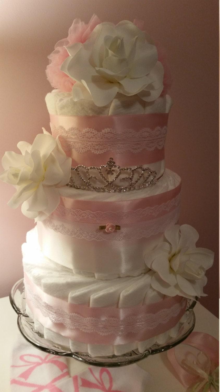 Princess Baby Shower Tiara Diaper Cake Pink White Lace Rose