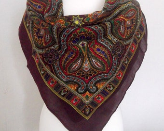 Brown Russian scarf,shawl with  flowers, winter accessory