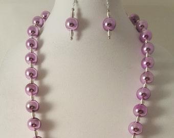Pale Purple Necklace - Pale Purple Earrings - Purple Jewelry Set - Metallic Purple Necklace - Purple Jewelry - Women's Long Purple Necklace