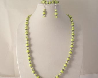 Bright Yellow Jewelry Set - Yellow Jewelry Set - Yellow Necklace - Yellow Earrings - Yellow Earrings - Women's Jewelry Set - Jewelry Set