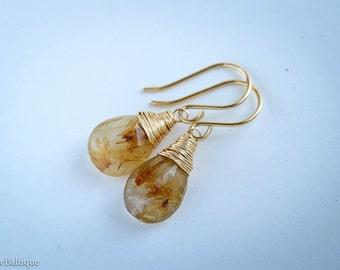 Gold Rutilated Quartz Earrings, Gemstone Dangle Drop Earrings, Tourmalinated Quartz Earrings in 14K Yellow/ Rose Gold Fill/ Sterling Silver