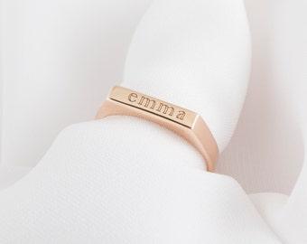 30% OFF -- Custom Name Ring - Latitude Longitude Ring - Minimalist Ring - Stackable Bar Ring - Stackable Name Ring - Personalized Gift
