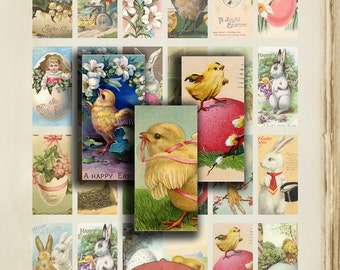 "Domino Clip Art, Vintage Easter, Digital Collage Sheet, Bunnies, Chicks, Jewelry Making, 1""x2"", Digital Downloads, domino tiles, Jewellery"