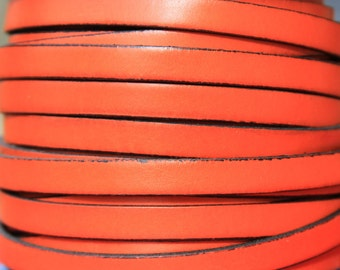 "MADE in SPAIN 24"" flat leather cord, 10mm flat leather cord, orange leather cord, leather cord for bracelet (VM10NAR)"