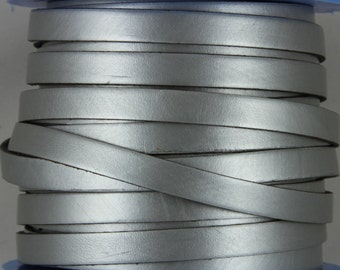 "MADE IN SPAIN 24"" old silver 10mm flat leather cord, 10mm plain leather cord (VM10MTPLV)"