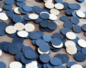 """Paper Confetti, 200pc 3/4"""" Navy and Silver Confetti, circle confetti, wedding decor, table decor"""