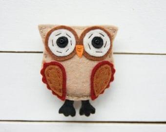 """Owl Brooch Bird brooch  Felt Brooch Textile Brooch """"LOWLEY"""""""