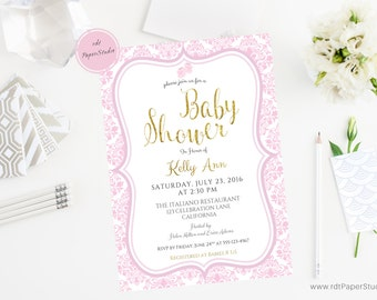 Printable Invitation, Pink Baby Shower Invitation, Gold Baby Shower Invitation, Custom Baby Shower Invitation, Baby Shower Invite