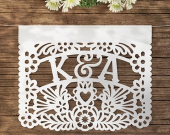 Combined Papel Picado / AMOR + Personalized flags