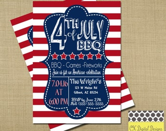 4th Of July BBQ Invitation // Fourth of July Invitation // 4th of July Party Invitation // Red White and Blue Invitation