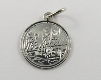 Los Angeles with City View Background Sterling Silver Charm or Pendant.