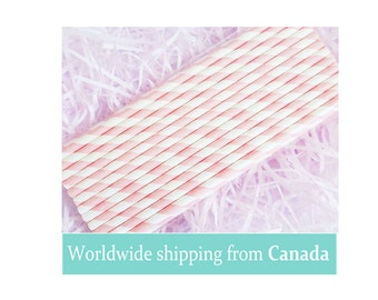 Baby Pink Stripes Paper Straws / Baby Pink Paper Straws / Drinking Straws - Pack of 25